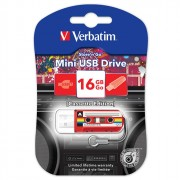 Флеш диск 16GB USB 2.0 Verbatim Mini Casette Edition красный