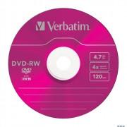 Диск  DVD-RW Verbatim 4,7Гб 4x Slim Case color (Ст.5) штука